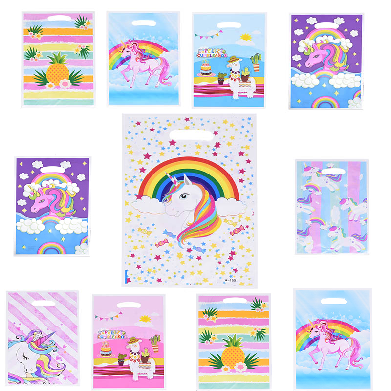 10pcs/lot 17*25cm Gift Bag Cute Unicorn Alpaca Plastic Bags For Kids Birthday Party Supplies Wedding Party Decor Set Candy Bag