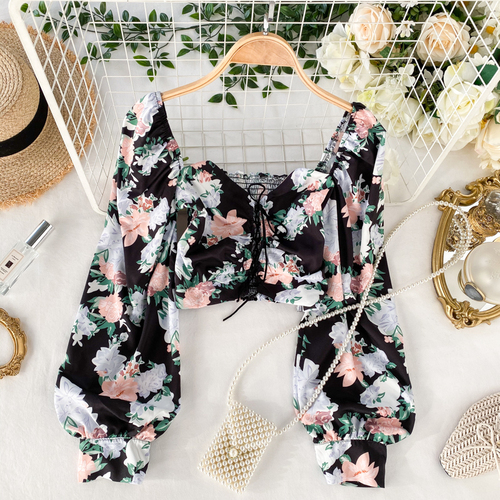 Gagaok 2020 Sexy & Club Women Blouse Spring Autumn New Square Collar Floral Lace Up Slim Chic Sweet Wild Female Fashion Shirts 10