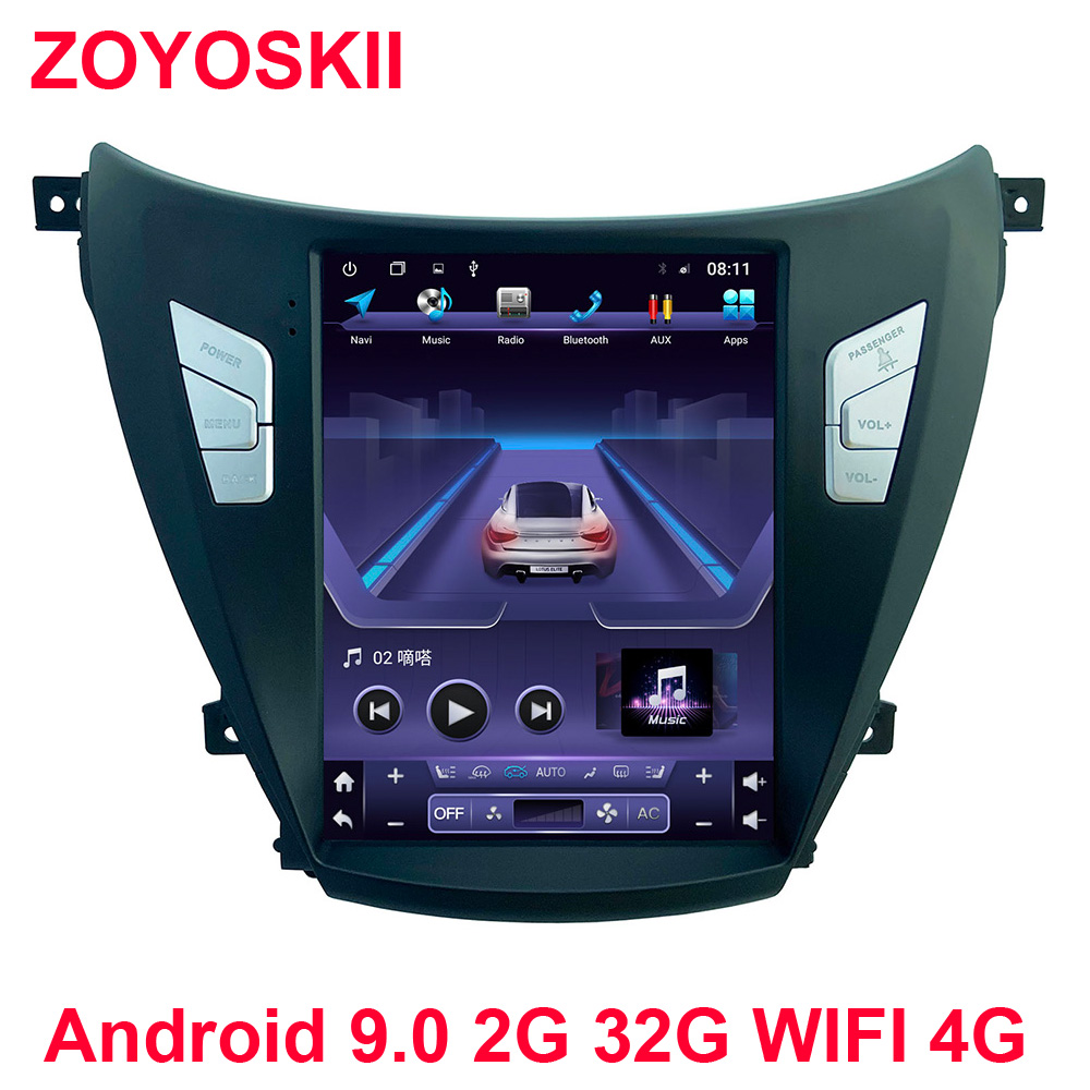 Android 6.0 9.0 10.4 Inch Vetical Screen Car Gps Multimedia Navigation Player For Hyundai ELANTRA 2012-2015 Carplay Tesla Style