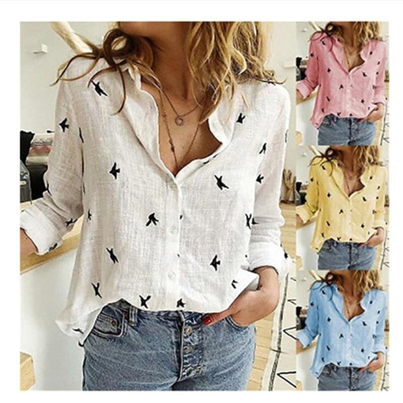 Spring/Autum Women's Tunic Casual Long Sleeve Bird Print Loose Shirts Cotton Linen Blouses Tops Vintage Streetwear Plus Size 5XL