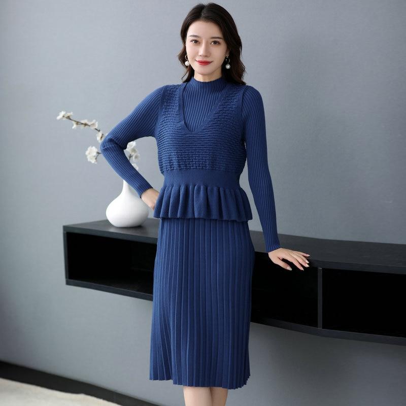 Autumn Women Peplum 2PCS Knit Dresses Beige Blue Green Warm Soft Dress With Ruffle Hem Vest 2 Pieces Robe Calf Length Outfits