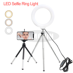 6 polegada led desktop anel de luz mini lâmpada regulável com tripé suporte usb plug para vídeo foto ao vivo para maquiagem youtube telefone titular