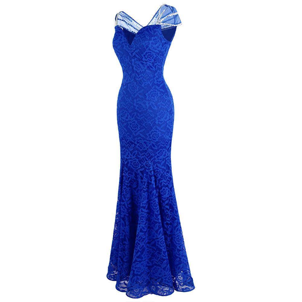 Engel-fashions frauen Cap Sleeve Perlen Spitze Abendkleider Lange  Meerjungfrau Hochzeit Kleid Blau 10