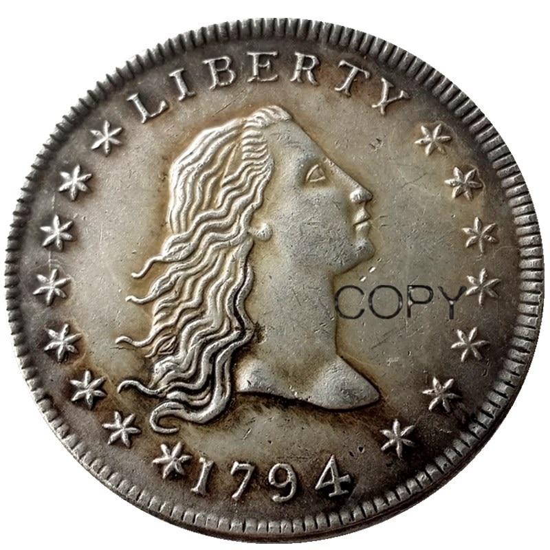 Estados unidos moedas 1794 fluindo cabelo de bronze com banhado a prata dólar carta borda cópia moeda