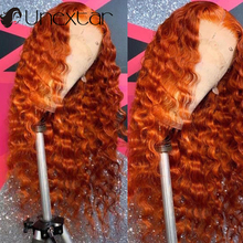 Wigs Human-Hair-Wigs Lace-Front Closure Ginger-Color Remy-Lace Orange 4x4 13x4 Wavy 180%Density