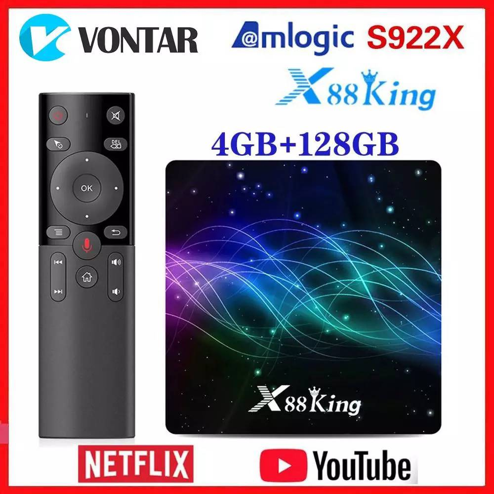 Amlogic S922X TV Box Android 9.0 X88 King 4GB RAM 128G ROM Media Player Dual Wifi BT5.0 1000M 4K 60fps USB3.0 Youtube