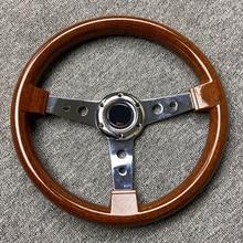 Volant de direction en acier inoxydable, aspect bois, plat de 14 pouces, à rayons Sport, réglage de course