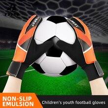 FDBRO, 1 пара, полный палец, перчатки для детей, подростков, противоскользящие, для рук, для футбола, вратаря, Нескользящие, дышащие, футбольные перчатки