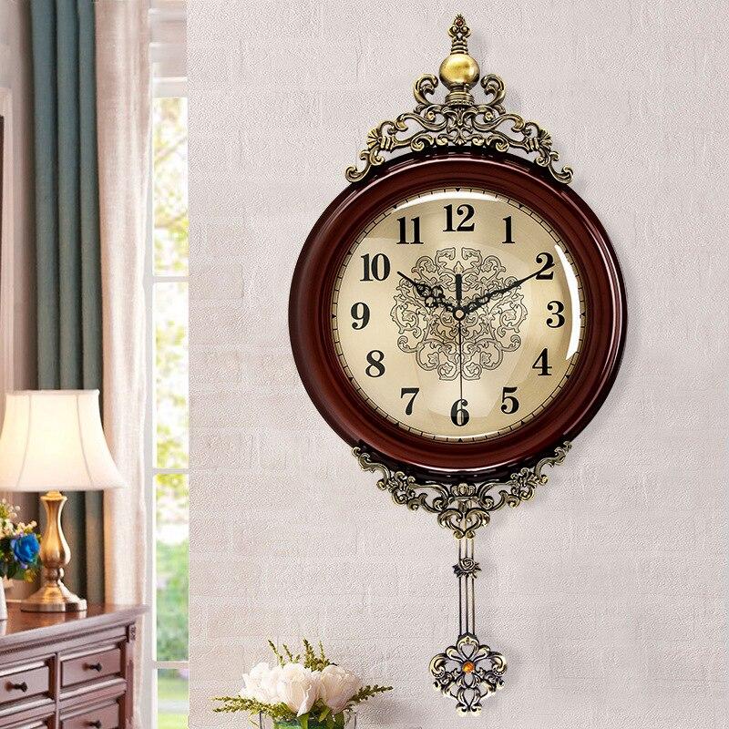 European Antique Wooden Wall Clocks Pendulum Decor Silent Quartz Movement Art Edge Wall Pendulum Classical Wall Clock Horloge