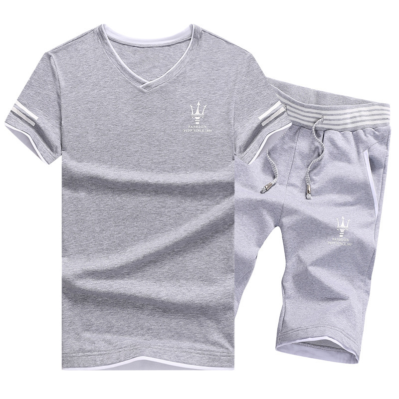 Tracksuit Men M-5XL Summer New Hot Sale Men's Sets T Shirts+shorts Two Pieces Sets Casual Tracksuit Male V-Neck Solid Sportswear