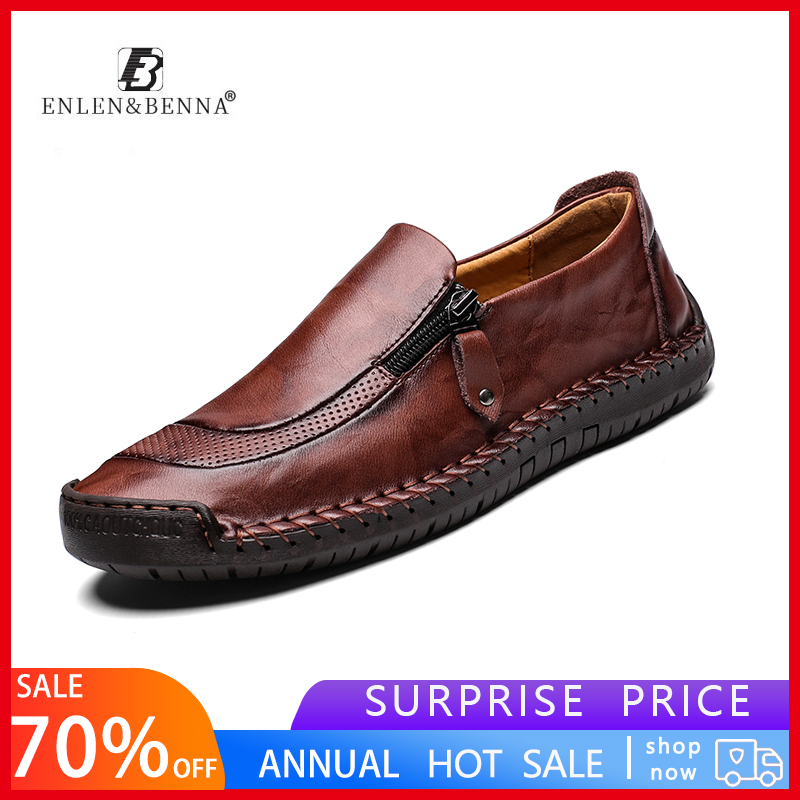Men Shoes Loafers Genuine-Leather Driving Waterproof Breathable Big-Sizes Casual Men's