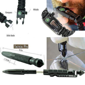 11In1 Professional Military Survival Kit Emergency Mountain Outdoor Hiking Flashlight Tactical Bracelet Paracord Camping Trip 6