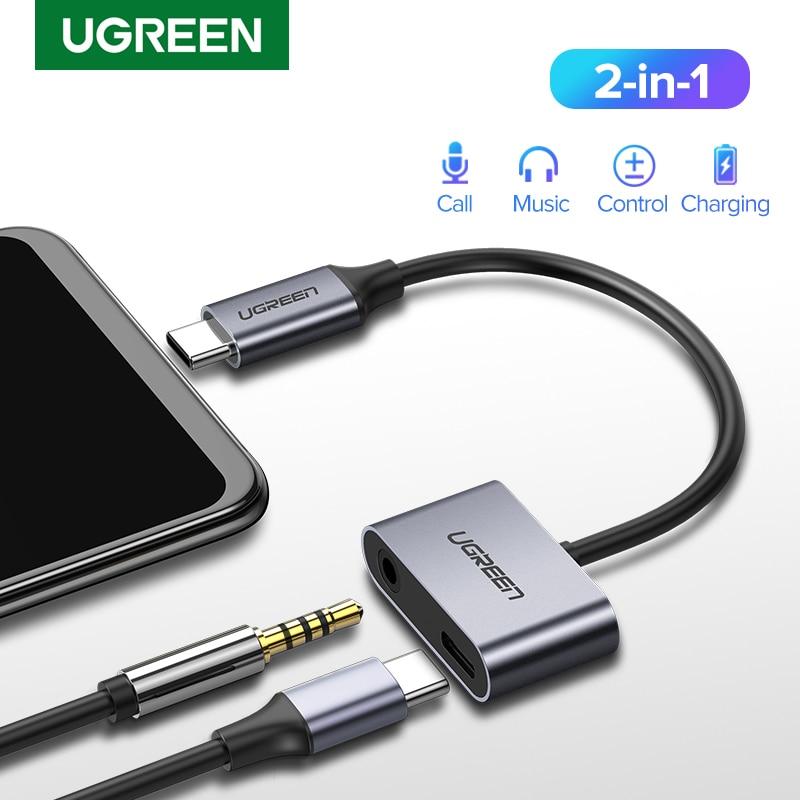 UGREEN USB C к разъему 3,5 типа C кабель адаптер USB Type C 3,5 мм AUX Наушники конвертер для Huawei P20 Pro Xiaomi Mi 6 8 9 se Note