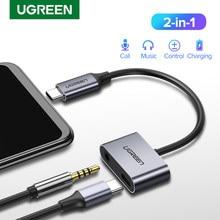 Adaptador usb c para entrada 3.5mm ugreen, conversor aux de fone de ouvido para huawei p20 pro xiaomi mi 6 8 9 se note