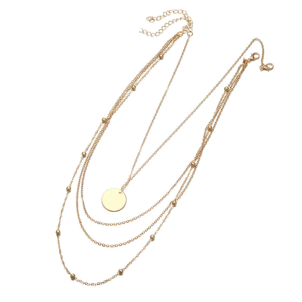 חדש אופנה בציר Boho גיאומטריה רב שכבתי תליון שרשרת לנשים זהב צבע עגול מתכת שרשרת שבטי קולר צווארון
