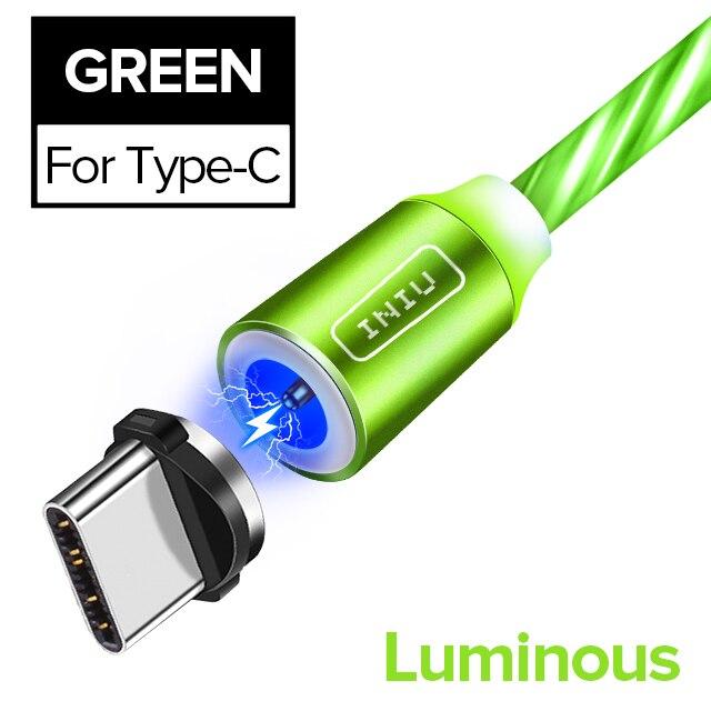INIU световой поток магнитного освещения USB кабель для iPhone XR X 7 8 микро Тип C зарядное устройство Быстрая зарядка магнит зарядка USB-C тип-c - Цвет: For Type C Green