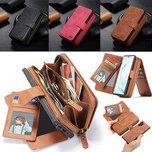 Funda de cuero con cremallera para Samsung Galaxy Note 10 Plus S10 S9 S8 Plus S10e Note 9 8 funda de bolso desmontable magnética