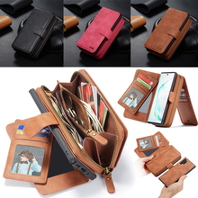 Zipper Wallet Leather Case for Samsung Galaxy Note 10 Plus S10 S9 S8 Plus S10e Note 9 8 Magnetic Detachable Handbag Pouch Cover