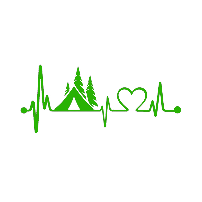 Image 3 - Tent Camper Heartbeat Lifeline Monitor Camping Decal Sticker Car Truck SUVs Motorcycle Car Styling Vinyl Decals-in Car Stickers from Automobiles & Motorcycles