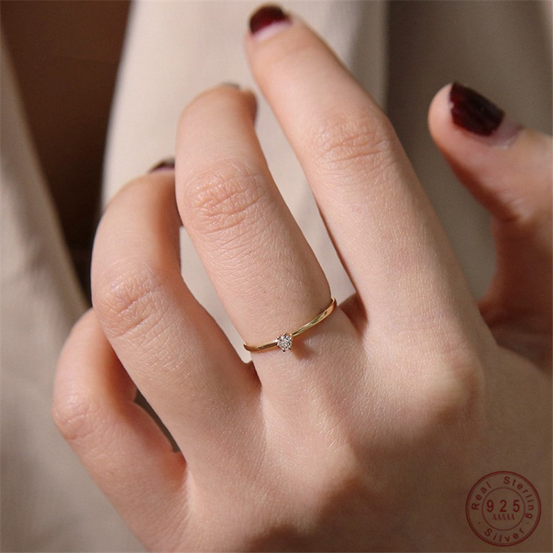 925 Sterling Silver Tail Ring Plating 14k Gold Korean Version Simple Diamond Fine Ring Women Proposal Jewelry Accessories