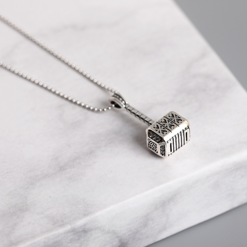 925 Sterling Silver Hammer Pendant Necklace