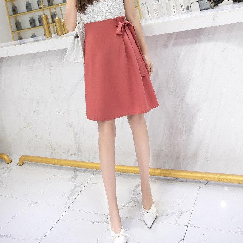 Spring Summer High Waist-line Chiffon Skirt Female Students Midi Skirt Women Lace Up Ladies Skirts Womens Black Office Skirts