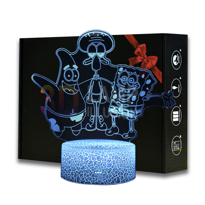 Cartoon Figure SpongeBob SquarePants Patrick Star Squidward 3d Led Night Light Kids Bedroom Bedside Lamp Gift For Xmas Lights