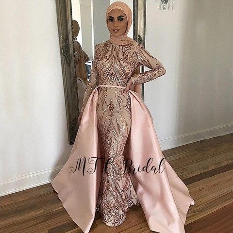 Vestidos de Baile Sereia com Hijab Festa de Noite Lindo Dourado Destacável Manga Comprida Árabe Feminino Barato 2020