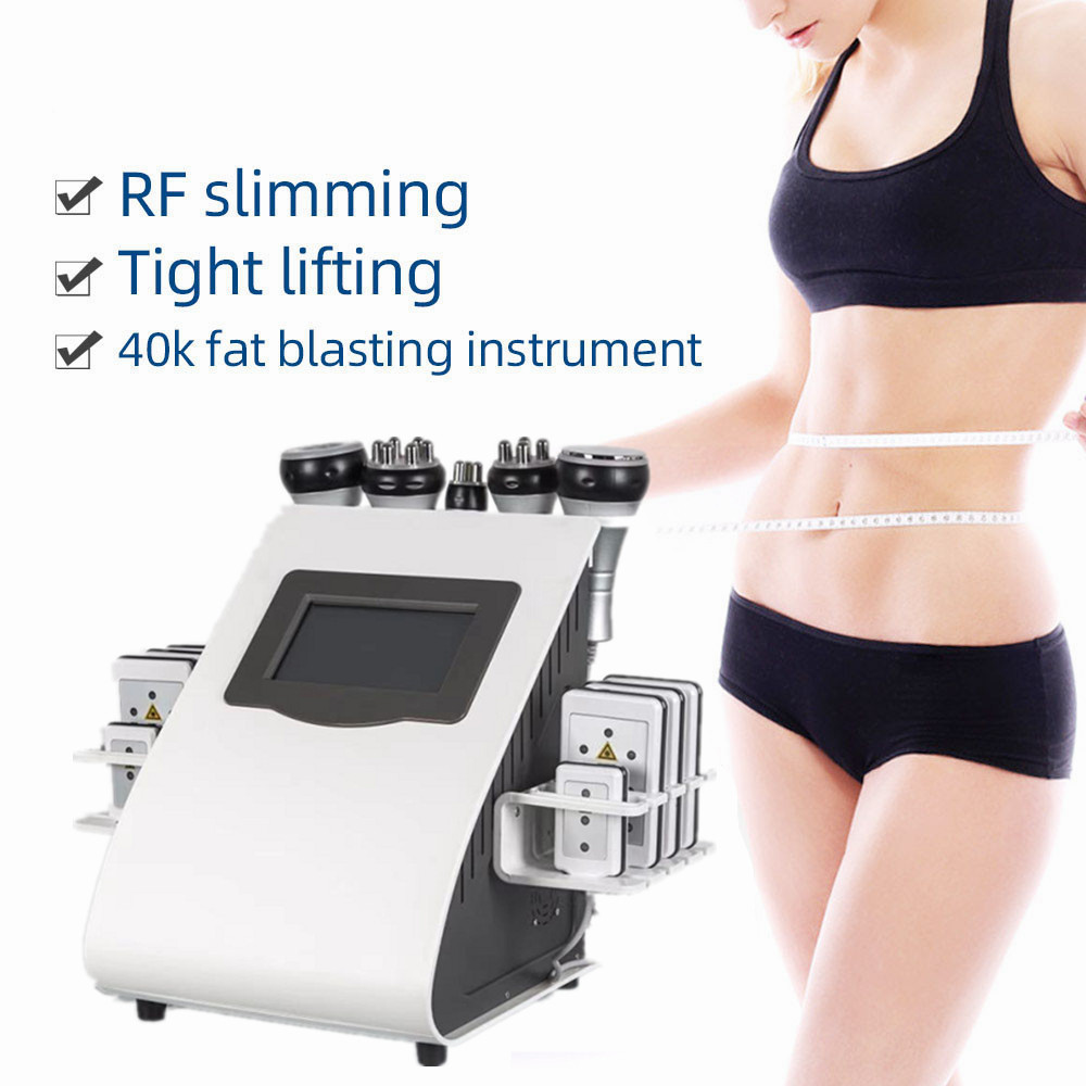 2020 New Arrival 6 In 1 40K Ultrasonic Cavitation Vacuum Radio Frequency Laser 8 Pads Lipo Laser Slimming Machine for Home Use