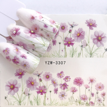 цена на 1 Sheet Simple Flowers Designs Water Decals Nail Art Stickers  Christmas Series Watermark Transfer Nail Slider Wraps