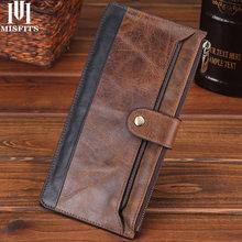 MISFITS брендовый деловой мужской длинный кошелек-клатч из натуральной кожи мужской Hasp модный кошелек в стиле ретро 100% из мягкой телячьей кожи;...