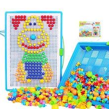300/600/900 pçs cogumelo prego diy brinquedos feitos à mão das crianças brinquedos educativos crianças inteligente 3d quebra-cabeça placa presente