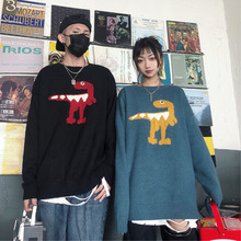 Winter Sweater Mens Warm Fashion Cartoon Print Casual Knit Man Sweter Lothes Wild Loose Long-sleeved Pullover Men