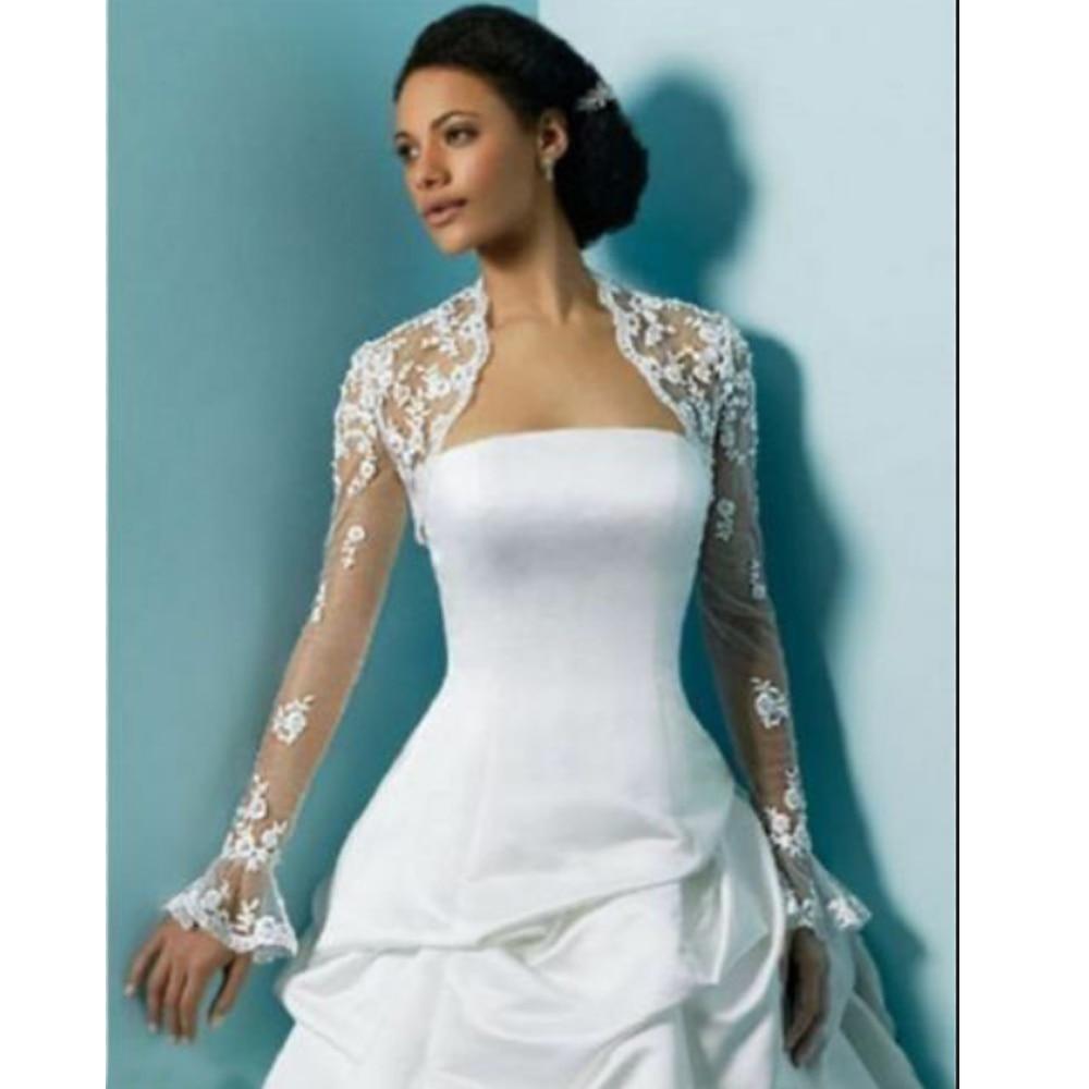 Ivory Long Sleeve Lace Jacket Wedding Bridal Bolero Wrap White Lace Bride Shawl
