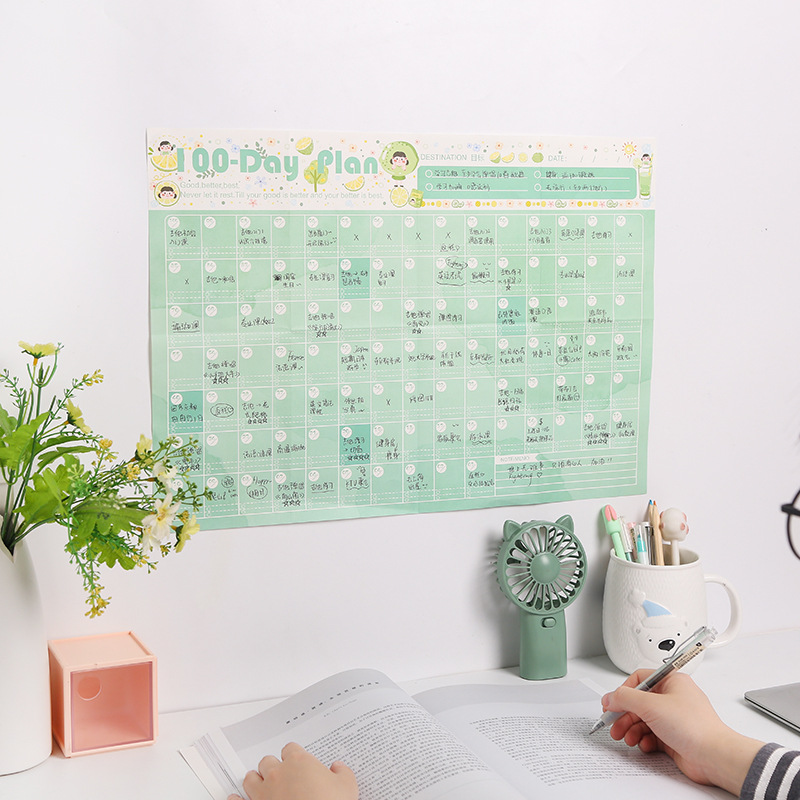 JIANUW Cute Cartoon 100 Days Planner Agenda 2019 2020 Kawaii Calendar TODO LIST Diet Diary Office Supplies
