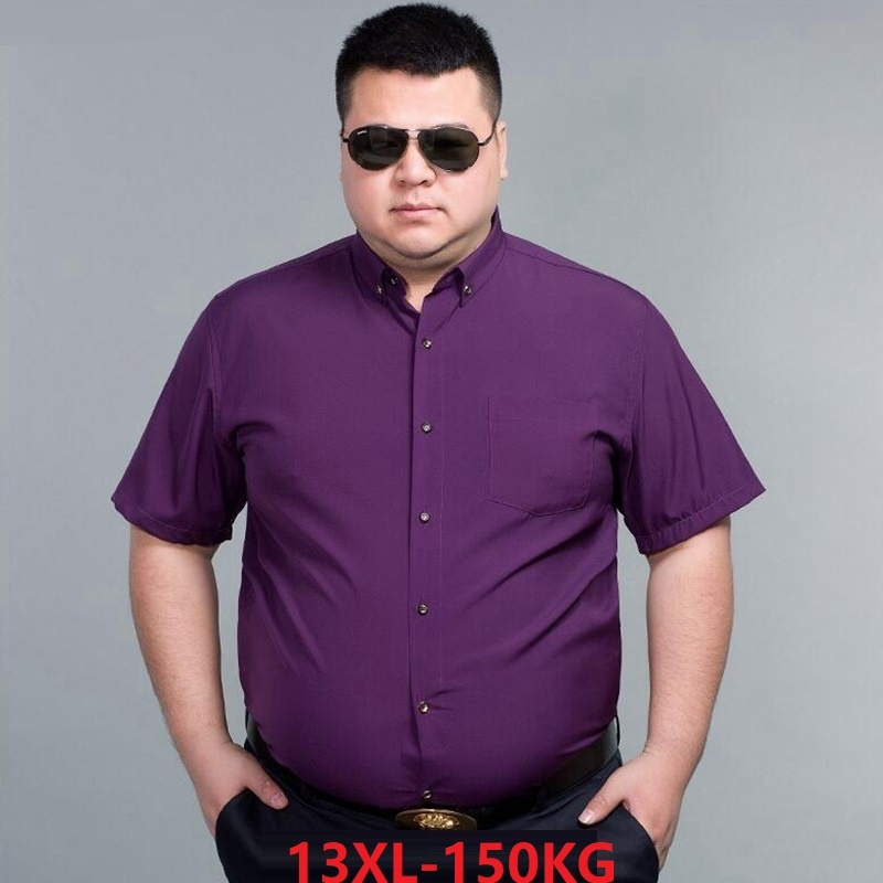 Summer Men Formal Dress Shirt Short Sleeve Business 7XL 8XL 9XL High Quality Larger Size 10XL 14XL Purple Blue Shirt 60 62 64 66