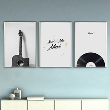 Vintage Musical Instrument Guitar Radio Canvas Painting Poster And Print Living Room Bedroom Wall Art Picture Home Decor Posters