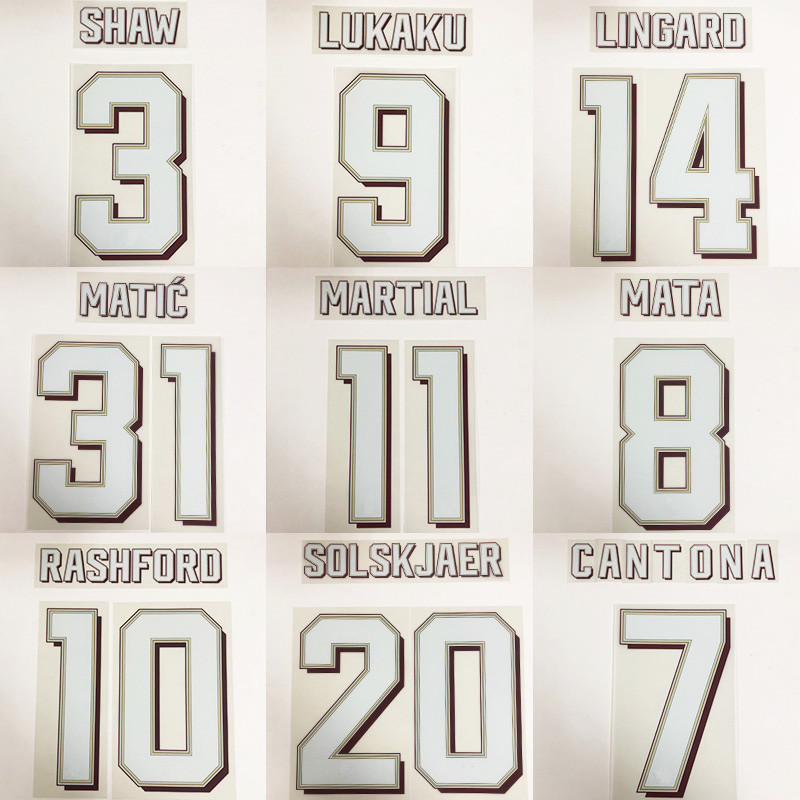2019-2020 SOLSKJAER BECKHAM CANTONA LINGARD POGBA RASHFORD MATIC MARTIAL MATA SHAW Printed Number Football Stamping Patch Badge