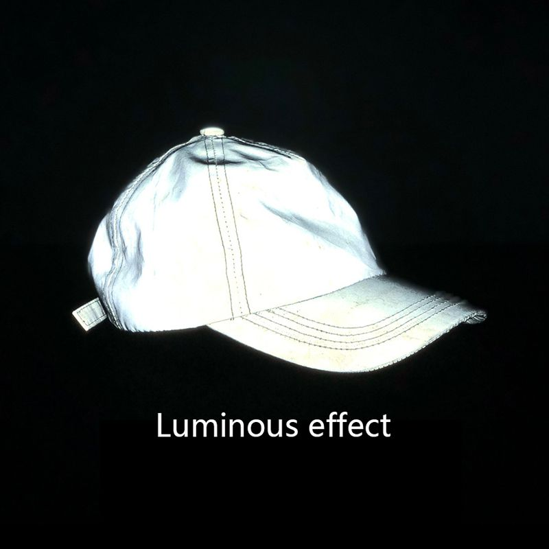 Outdoor Sports Silver Grey Reflective Luminous Running Cap Soft Fabric Duck Tongue Tide Club Baseball Hat