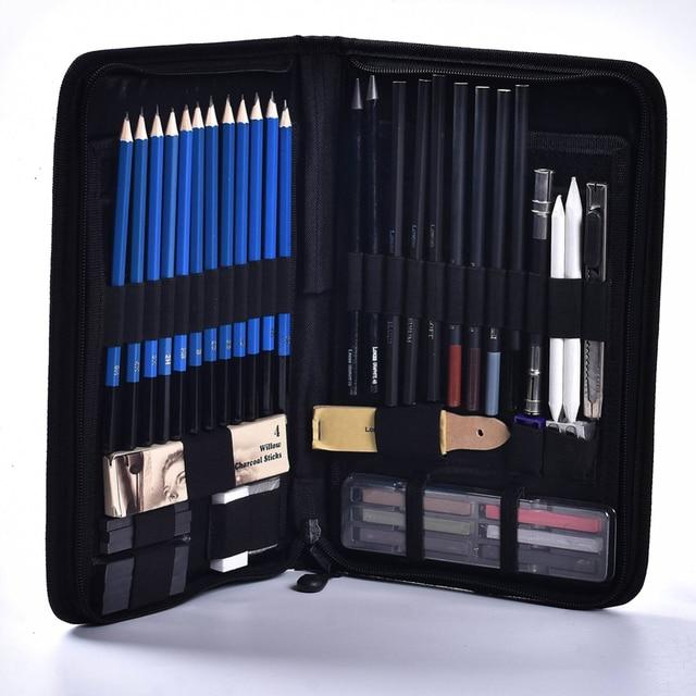 48 Pcs/lot Sketch Drawing Tool Set Profession Painting Set Art Supplies Pencil Stick Eraser Knife Pencil Extender Sharpener