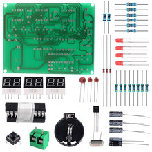 6 dígitos kit de relógio eletrônico digital diy at89c2051 chip alarme kit pcb solda prática aprendizagem kits
