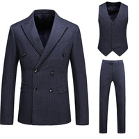New Plus Size Male Double Breasted Slim Suit Set Man Fashion Business Casual Stripe Blazer Three piece Presenter Stage Clothing