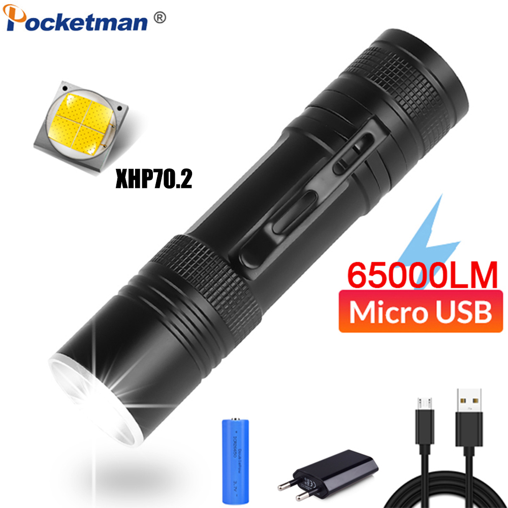 65000LM LED Flashlight XHP70.2 Torch USB Rechargeable Flashlight Zoomable LED Torch XHP70 XHP50 Flashlight With 18650 Battery