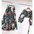 Cosmicchic Holiday Maxi Skirt Set Long Lantern Sleeve Print Off Shoulder Short Top High Waist Ruffles Long Skirt 2 Piece Set