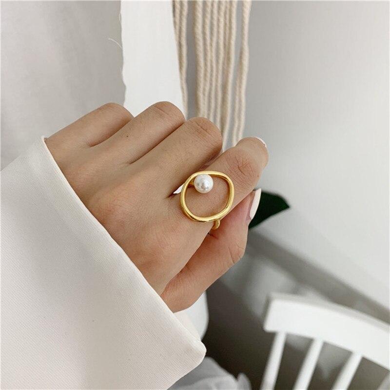 Женское кольцо с имитацией жемчуга, элегантное круглое кольцо с геометрическим узором, вечерние ювелирные изделия, подарочное кольцо, 2019