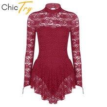 ChicTry vestido elegante de manga larga para adulto, malla de encaje para Ballet, gimnasia, patinaje sobre hielo, disfraz baile escenario de competición