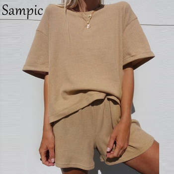 Sampic Summer Tracksuit Women Lounge Wear Shorts Set Short Sleeve Shirt Tops And Loose Mini Shorts Suit Two Piece Set 9