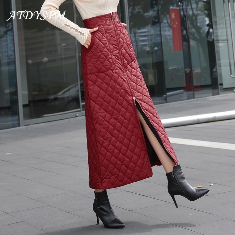 Fashion Women's High Waist A-line Skirt Winter Thickening Down Midi Skirt Solid Zipper Warm Skirt Plus Size 5XL Falda De Mujer