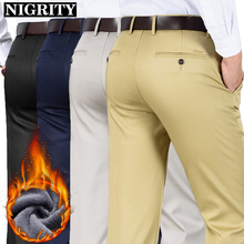 NIGRITY 2020 Mens Winter Warm Flannel Casual Pant Business Fleece Velvet Thickening Trousers New Stretch Pants Plus Big Size 42