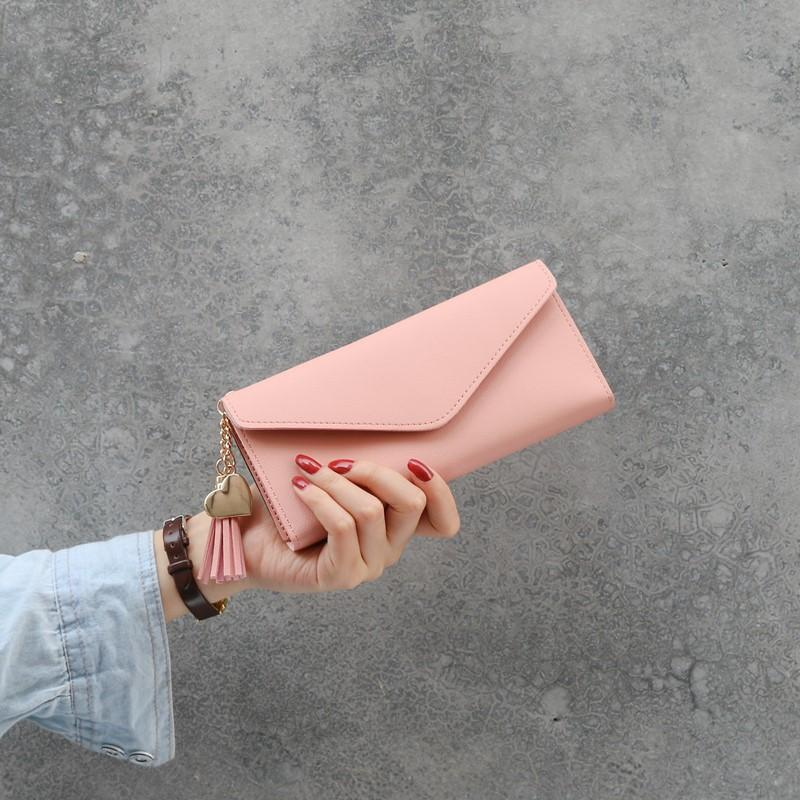 New Long Women's Wallet Female Purses Tassel Coin Purse Card Holder Wallets Female Pu Leather Clutch Money Bag Pu Leather Wallet